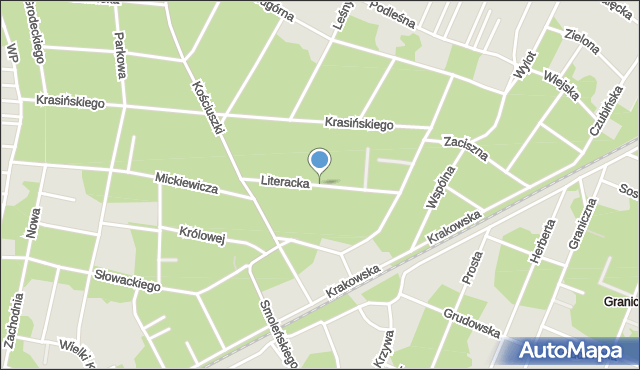 Milanówek, Literacka, mapa Milanówek