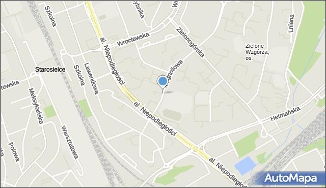 Białystok, Magnoliowa, mapa Białegostoku