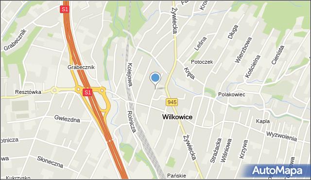 Wilkowice, Miodowa, mapa Wilkowice
