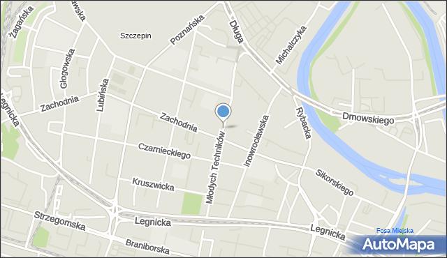 Wrocław, Młodych Techników, mapa Wrocławia