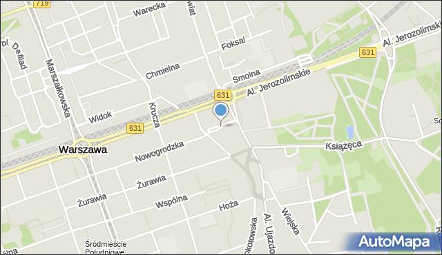Warszawa, Mysia, mapa Warszawy