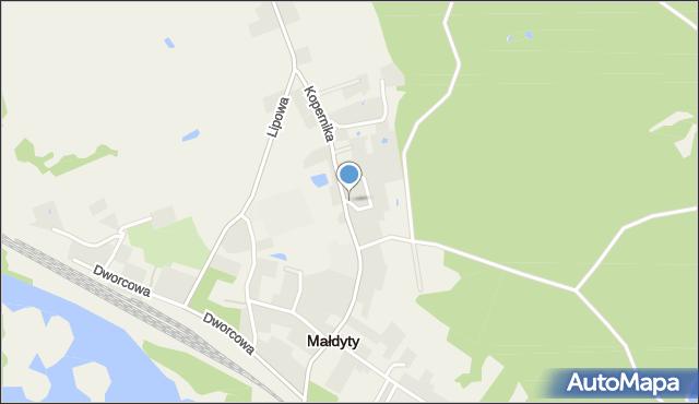 Małdyty, Ogrodowa, mapa Małdyty