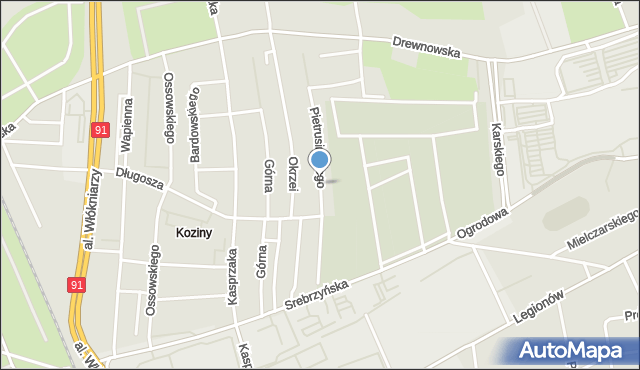 Łódź, Pietrusińskiego Jana, mapa Łodzi