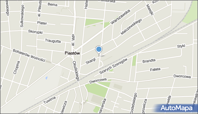 Piastów, Skargi Piotra, ks., mapa Piastów