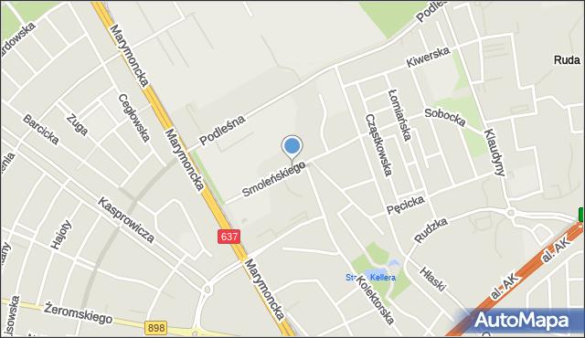 Warszawa, Smoleńskiego Władysława, mapa Warszawy