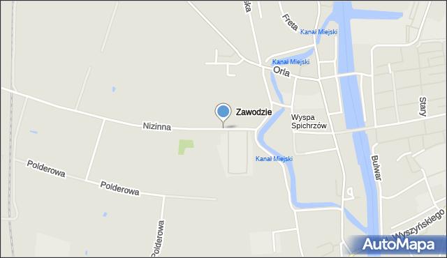 Elbląg, Strażnicza, mapa Elbląga