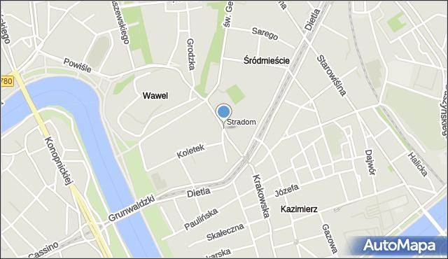 Kraków, Stradomska, mapa Krakowa