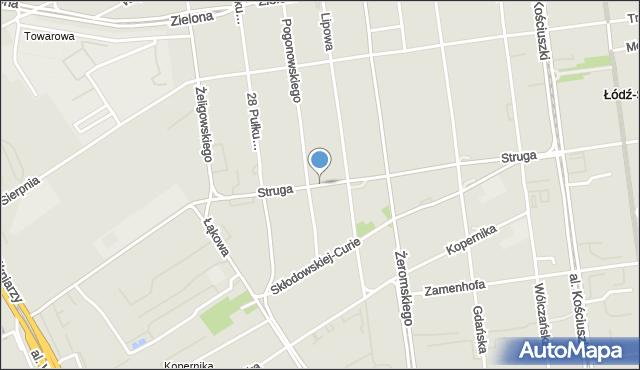 Łódź, Struga Andrzeja, mapa Łodzi