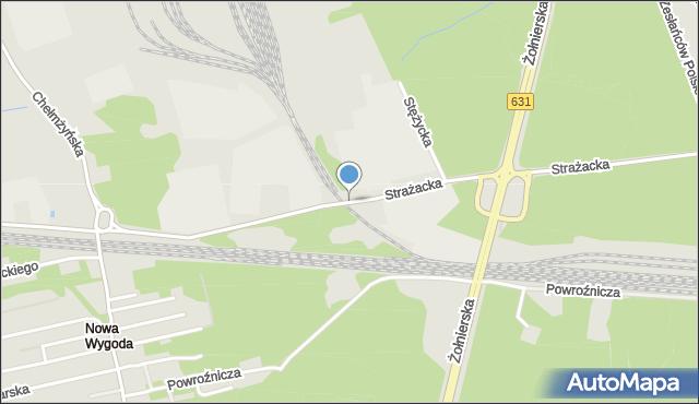 Warszawa, Strażacka, mapa Warszawy