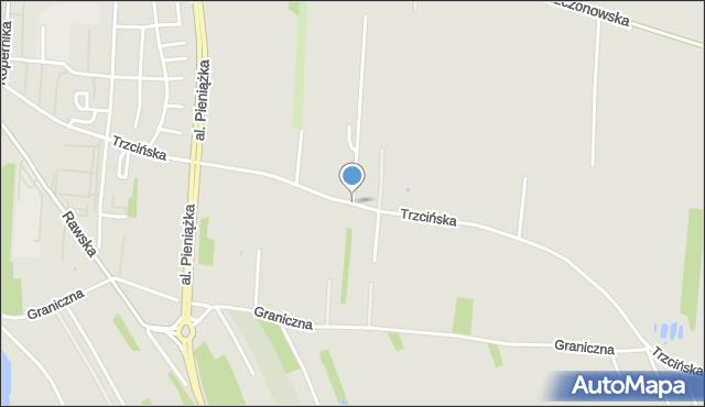 Skierniewice, Trzcińska, mapa Skierniewic