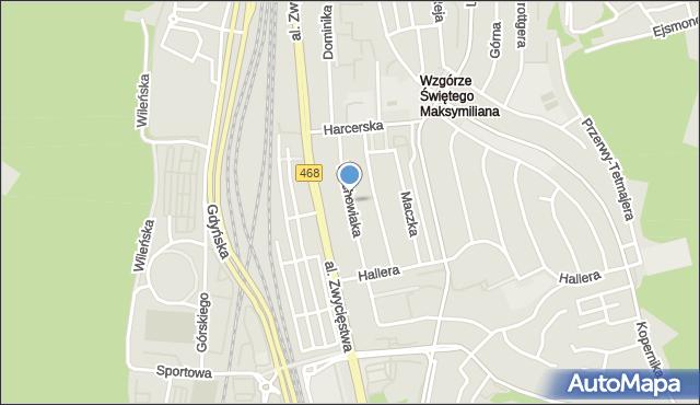 Gdynia, Wachowiaka, woj., mapa Gdyni