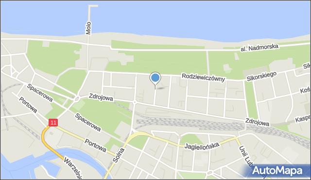 Kołobrzeg, Waszyngtona Jerzego, mapa Kołobrzegu