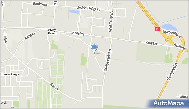 Konin, Wzgórze, mapa Konina
