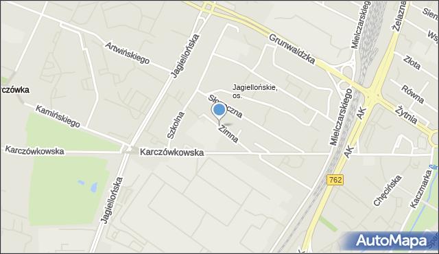 Kielce, Zimna, mapa Kielc
