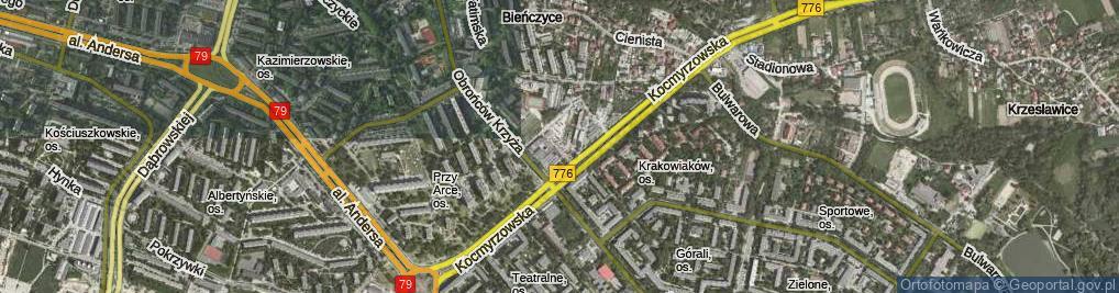 Zdjęcie satelitarne Bieńczycki Plac Targowy ul.