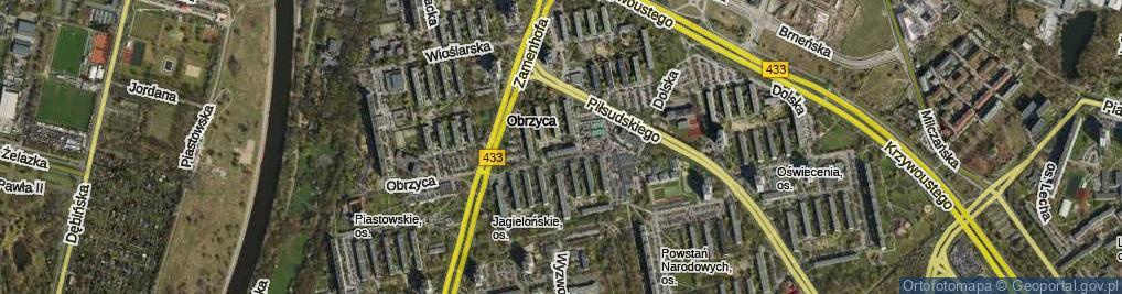 Zdjęcie satelitarne Osiedle Jagiellońskie os.