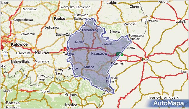 wojewodztwo podkarpackie na mapie Targeo